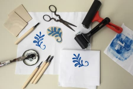 Linocut Printing on Fabric