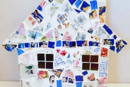 Mosaic Workshop - Make a Quirky Mosaic House using Vintage China Suitable for Adults & Children
