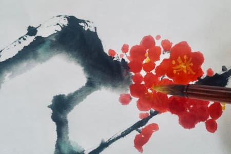 Japanese Ink Painting Course - Bamboo, Wild Orchids, Chrysanthemum & Plum Blossom - mix level