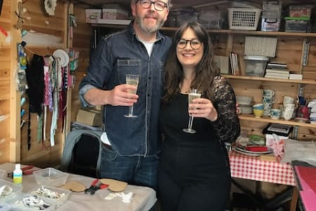 Couples Private Mosaic Workshop with free Prosecco and Savoury Nibbles - Make a Mosaic Heart
