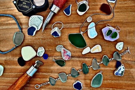 Bezel Setting Natural Sea Glass