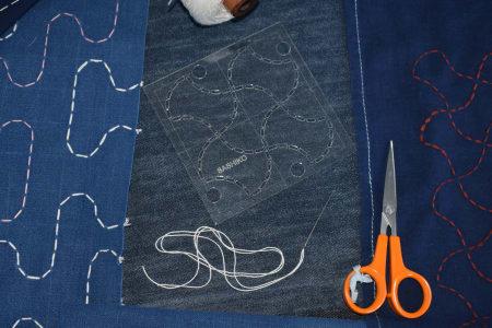 Sashiko Japanese stitching in Artist's studio