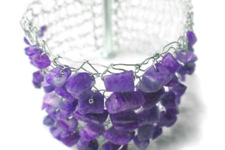 Hand Knitting with Wire - make a Cuff with Semi-Precious Stones