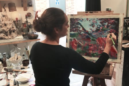 ONE to ONE Abstract Painting in Artist Studio