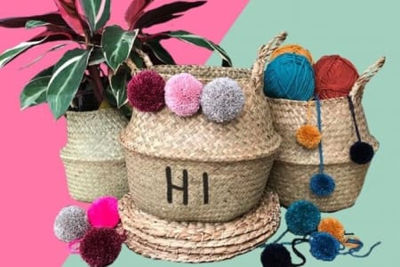 Mother's Day - Decorate your own Seagrass Baskets with Handmade pom-poms and Embroidery.
