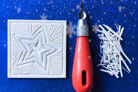Linocut printing Christmas cards