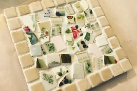 Make a set of Two Mosaic Coasters using Vintage Crockery Suitable for Adults and Children