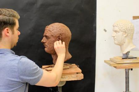 Sculpture Beginners Class, Copy of a Roman Antique Cast.