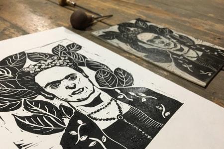 Frida Kahlo by Night | Lino - Printmaking