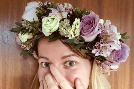 Beginners flower crown making workshop, with prosseco