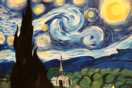 Paint & Wine - The Starry Night at the Alexandra, Clapham