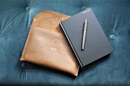 Handmake a Leather Dairy or Journal Case and Personalise it with Initials or Name.