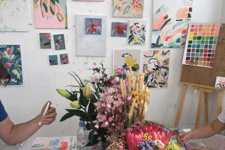 Beginner's Floral Abstract Painting In Artist Studio