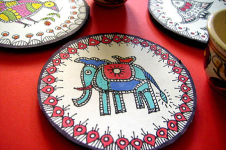 Indian Print Coaster Painting