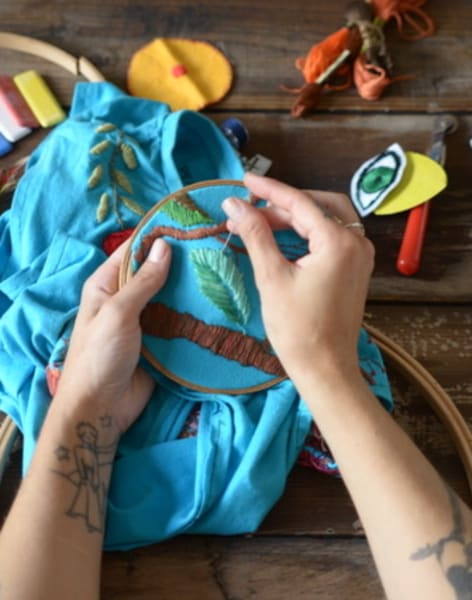 Introduction to hand embroidery stitches with Moody Bright Designs : Full Day by Fabrications - crafts in London