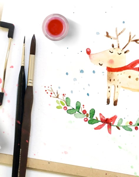 Watercolour Christmas Greeting Card for Beginners by DearAnnArt - art in London