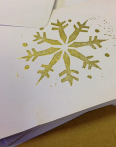 Christmas Card Lino Block Printing by Tea & Crafting - art in London