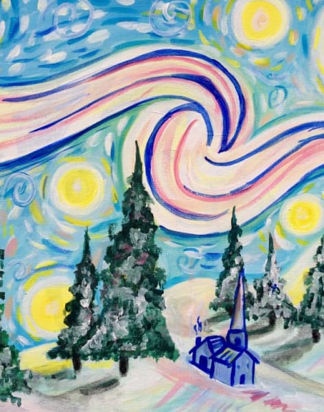 Paint a Snowy Starry Night & Prosecco by PopUp Painting - art in London