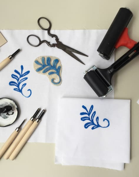 Linocut Printing on Fabric by Creative Happy London - crafts in London