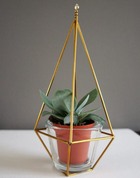Make your own Geometric Metallic Himmeli Plant Holder by Maiden Aunt - crafts in London