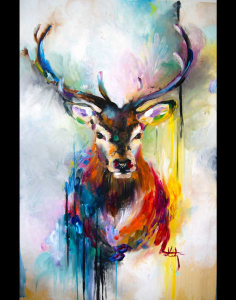 Painting Night - Deer by Studio Masterpiece - art in London
