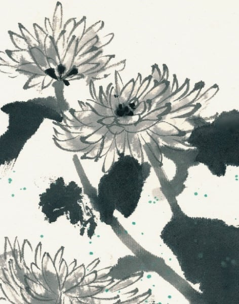 Japanese Ink Painting & Calligraphy workshop - Painting Chrysanthemum by Talia LeHavi Studio - art in London