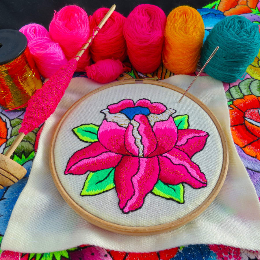 "Learn hand embroidery and stitch an ""Andean Rose"" with Bella Lane : Afternoon by Fabrications - crafts in London"