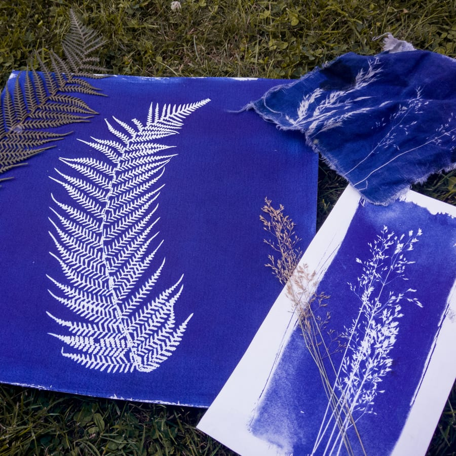 Botanical Blueprint:Cyanotype Printmaking On Textile At Obby East Village  By Magda Kuca Photography  . Printing Classes In London