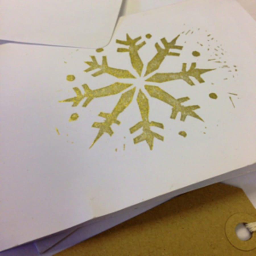 Christmas Card Lino Block Printing by Tea & Crafting - art in London