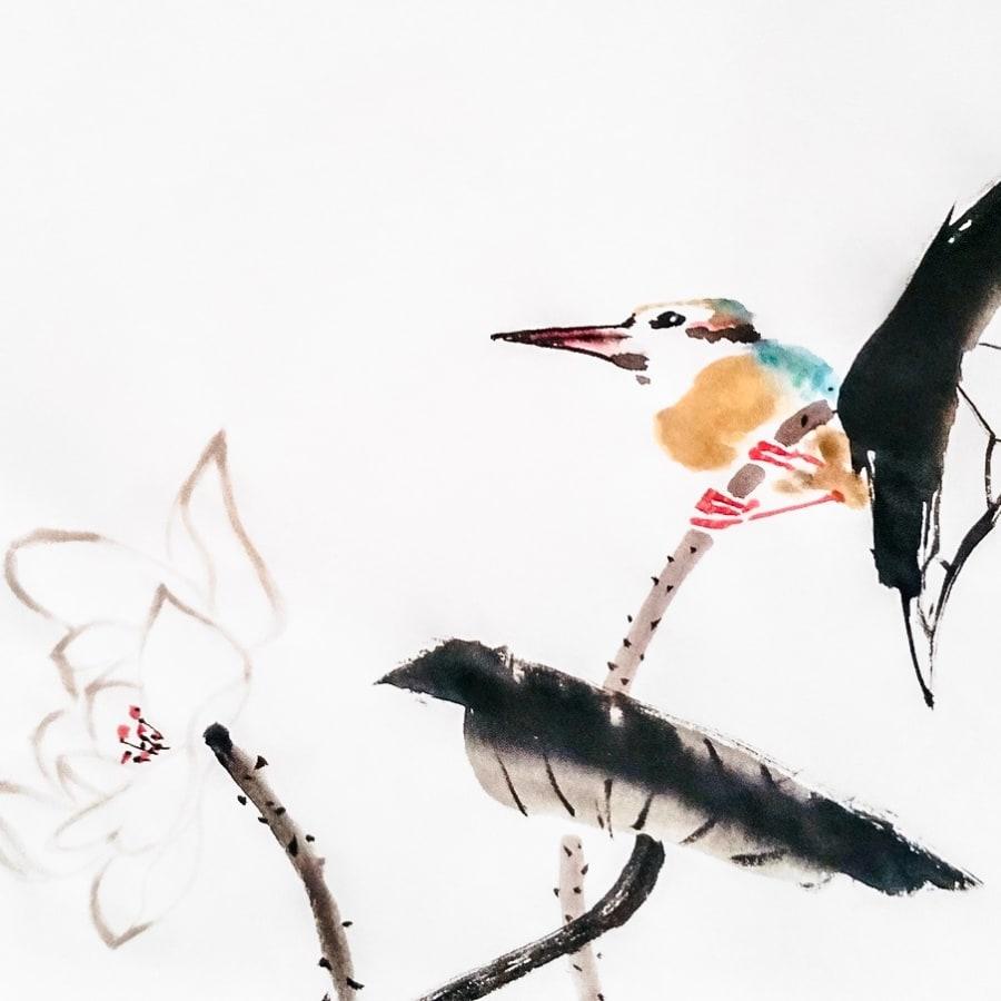 Japanese ink & watercolour Painting - Kingfisher & Lotus by Talia LeHavi Studio - art in London