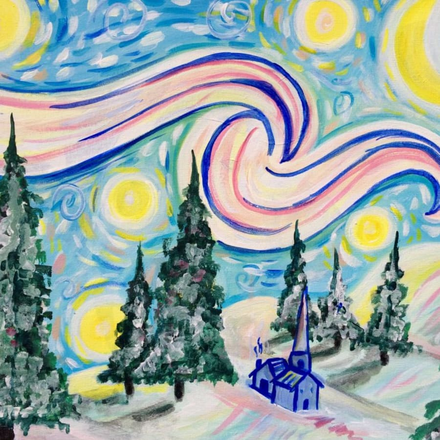 Paint a Snowy Starry Night by PopUp Painting - art in London