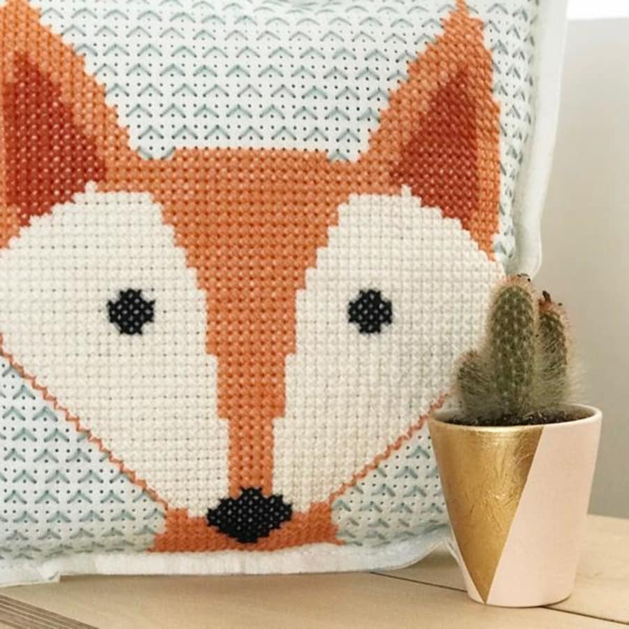 Cross Stitching for all Levels - Large Cross Stitch Cushion Cover by Tea & Crafting - crafts in London