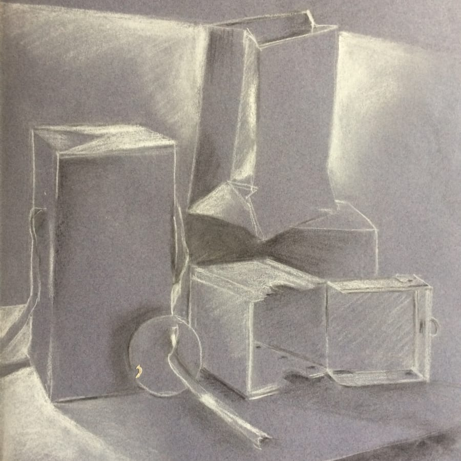Proportion, Mark Making and Composition of Angular Shapes and Forms by London Art School - art in London