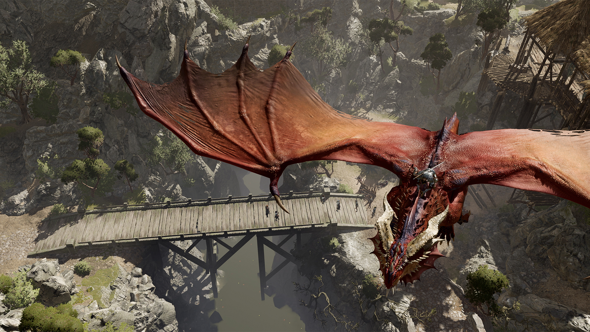 A dragon flies over a bridge in Baldur's Gate 3