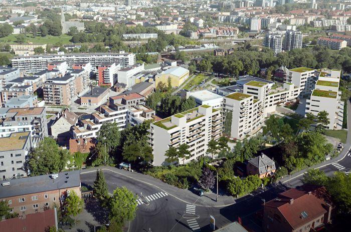 Illustrasjon som viser fasader i boligprosjektet Kværnertoppen, sett fra et fugleperspektiv