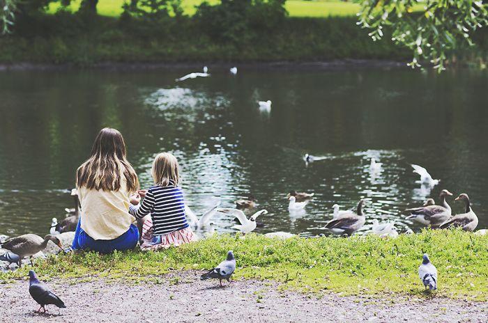 Bildet viser to jenter som mater duer ved Hovindammen