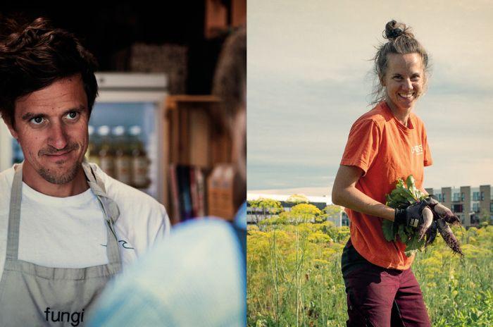 Todelt foto som viser driver av spisestedet Seeds og driftsansvarlig for Fornebu Samdyrkelag på den andre.