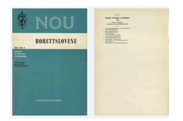 Foto av forsiden på NOU tilknytte bortettsloven 1974