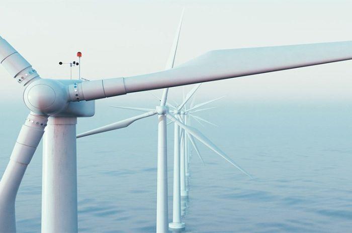 Vindmøller plasser i havet som generer energi og strømkraft