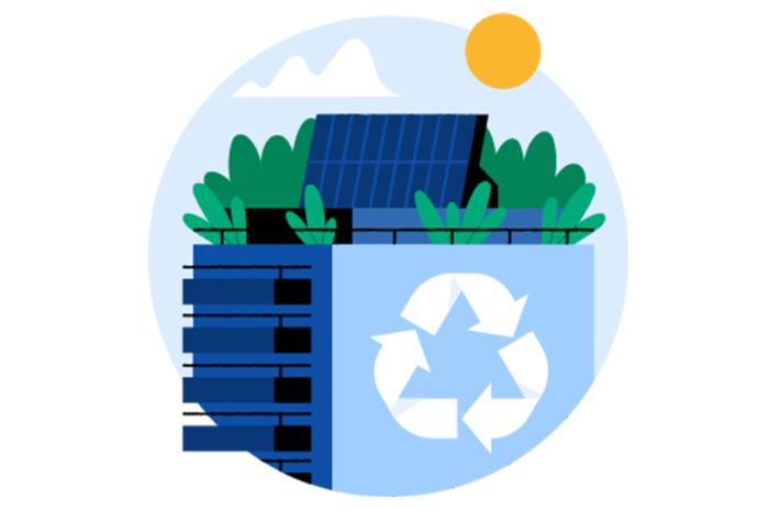 Illustrasjon av et klimavennlig bygg med solcellepanel på toppen