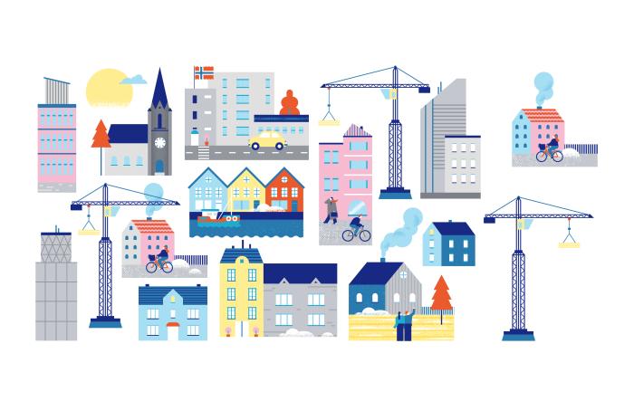 Illustrasjon av mange bygninger som f.eks. offentlige bygg, hus, leilighetskomplekser og skyskrapere