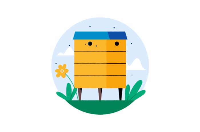 Illustrasjon av en bikube med biers som svermer rundt den.