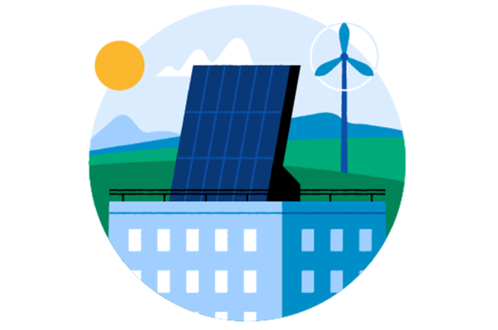 Illustrasjon av solceller på toppen av en stor bygning, en sol og en vindmølle