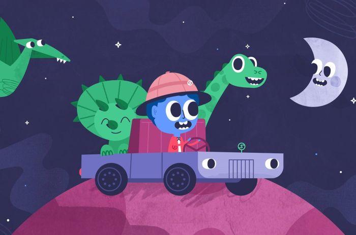 Animasjon av en figur i bil med andre figurer rundt