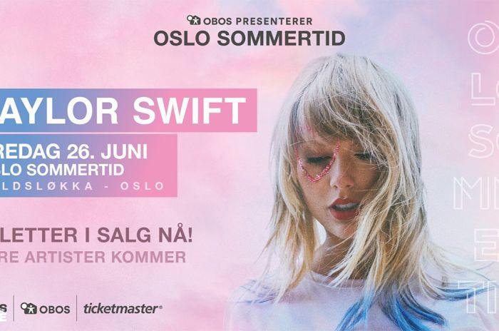 "Portrett av Taylor Swift med teksten: ""Oslo Sommertid - Taylor Swift - Fredag 26. juni - Voldsløkka Oslo"