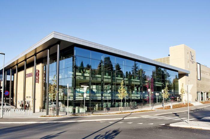 Bilde av fasaden på Lambertseter senter.