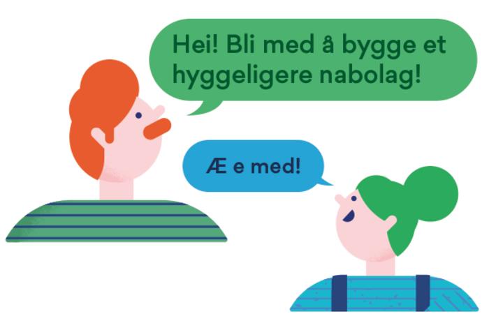 Illustrasjon av nabohjelpere som kommuniserer