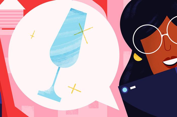 Illustrasjon av mann, dame, champagneglass, nøkler og mobil