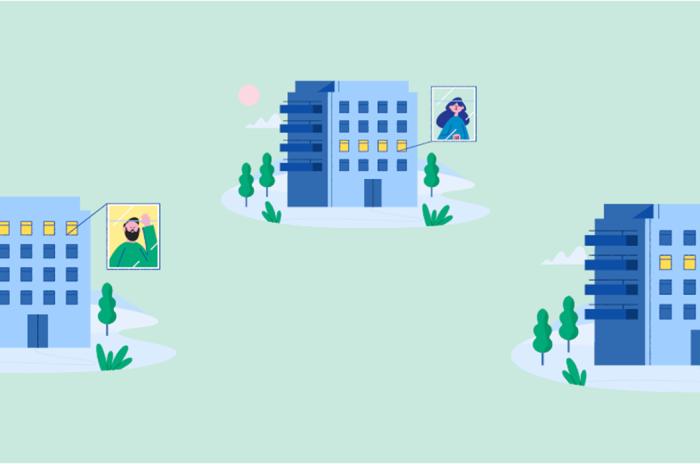 Illustrasjon av 3 blå blokker i grønt areale
