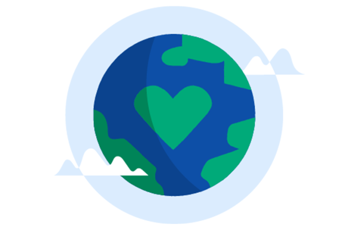 Illustrasjon av en jordklode og et hjerte